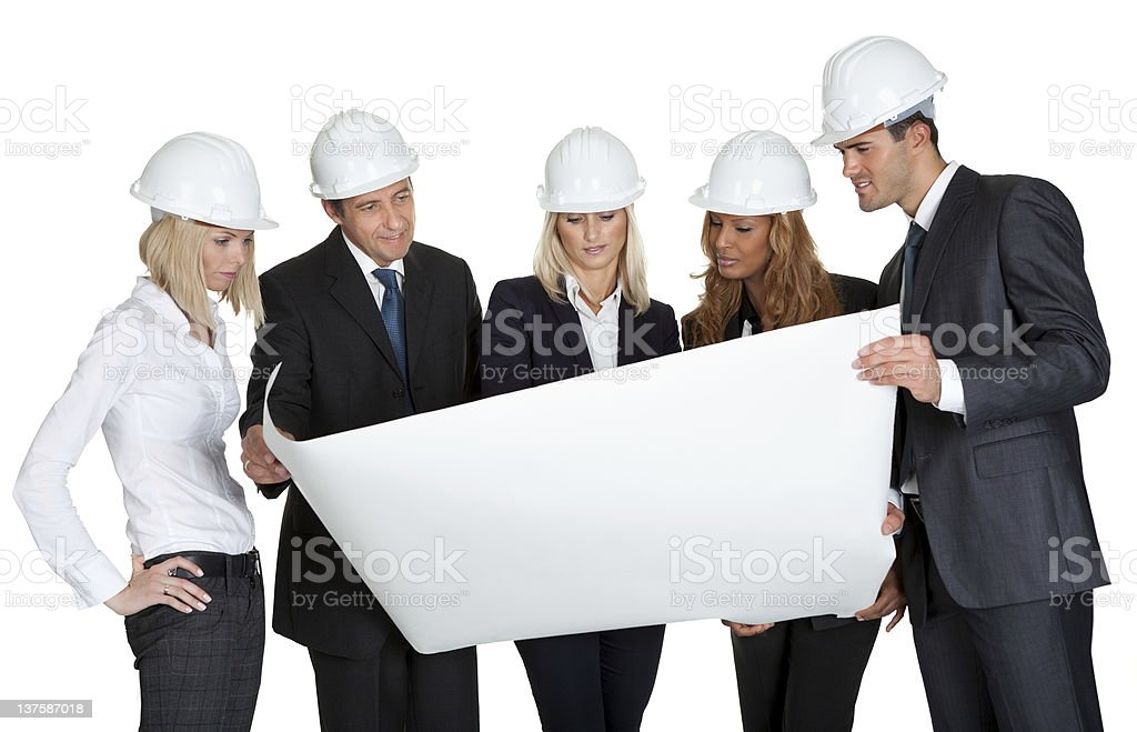 Group of architects discussing blueprint royalty-free stock photo