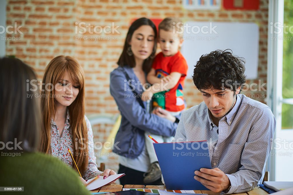 Group of Architects working in modern start up office stock photo