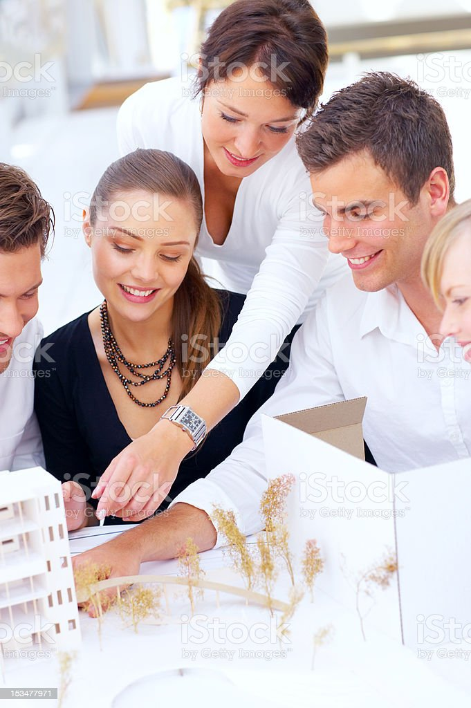 Group of architects working together royalty-free stock photo