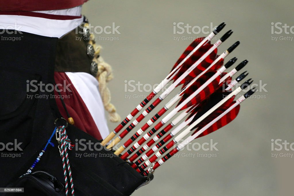 Group of arrows of a medieval bow in the quiver stock photo