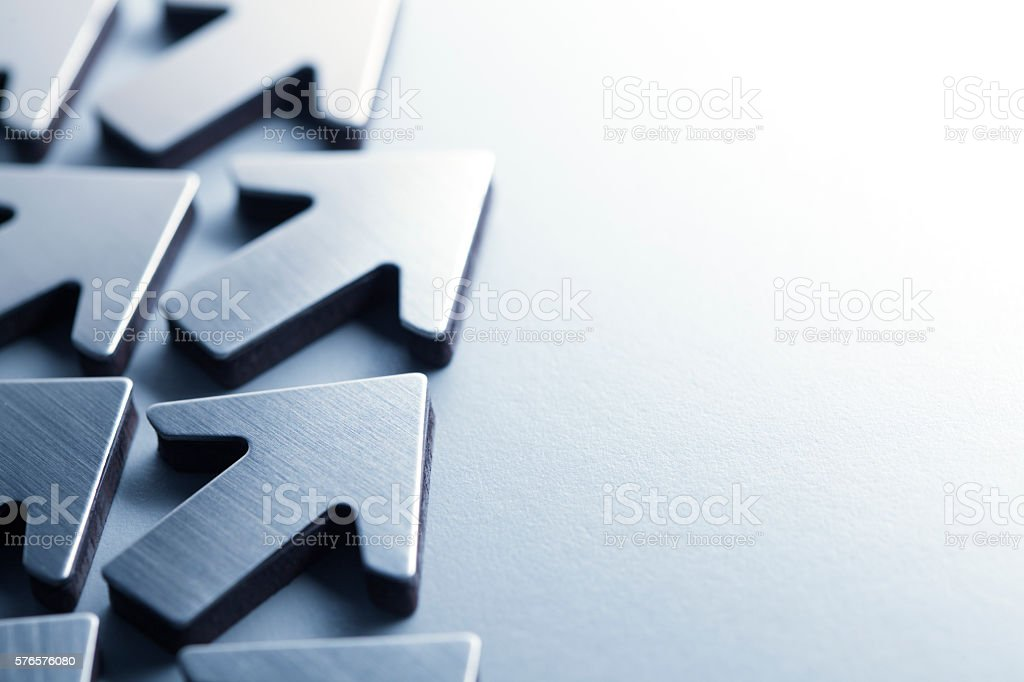 Group Of Arrows Pointing In Same Direction stock photo