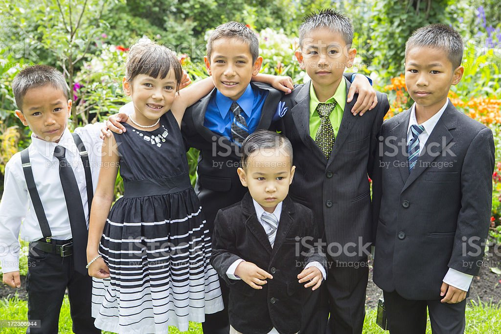 Group of asian children at wedding royalty-free stock photo