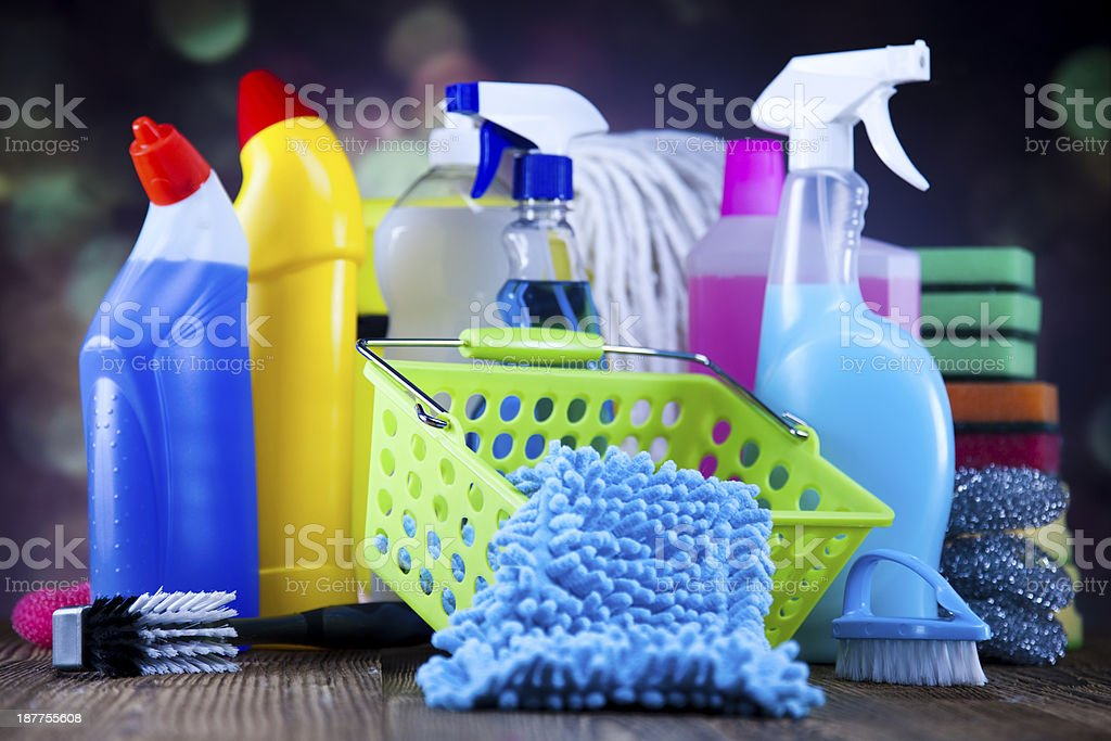 Group of assorted cleaning royalty-free stock photo