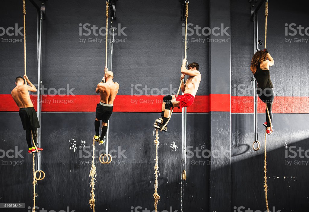 group of athlete climbing the rope on a gym stock photo