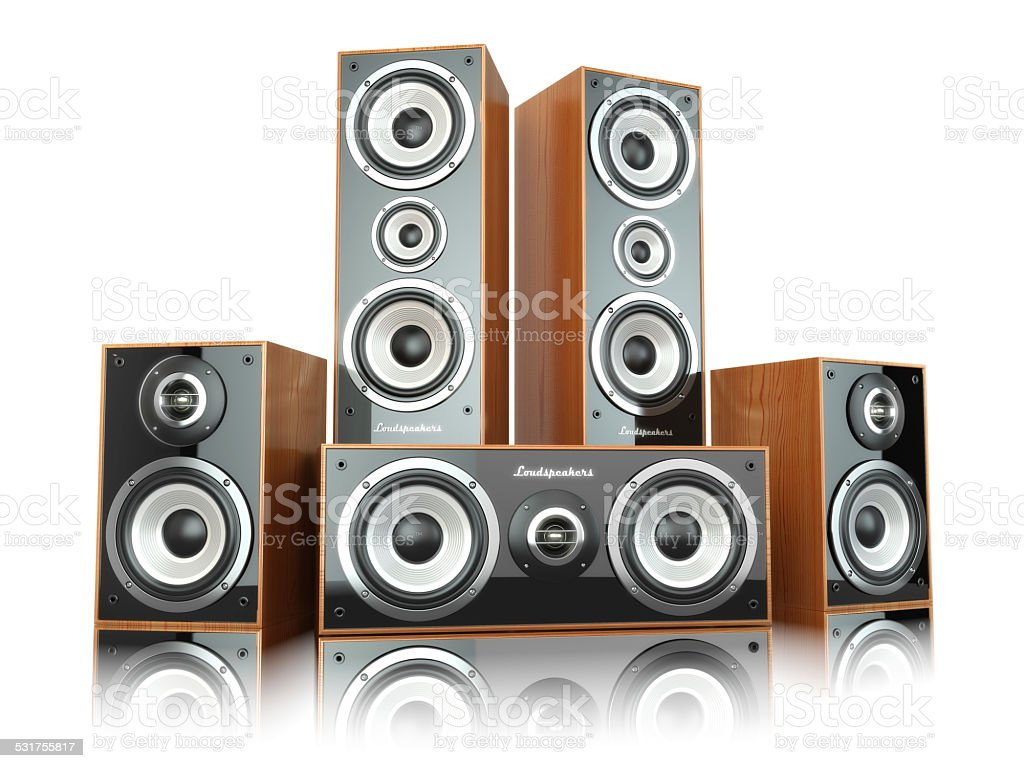 Group of audio speakers. Loudspeakers isolated on white. stock photo