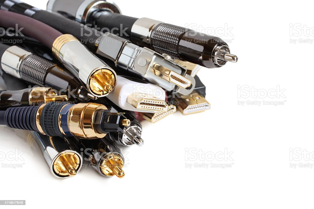 Group of audio/video cables stock photo