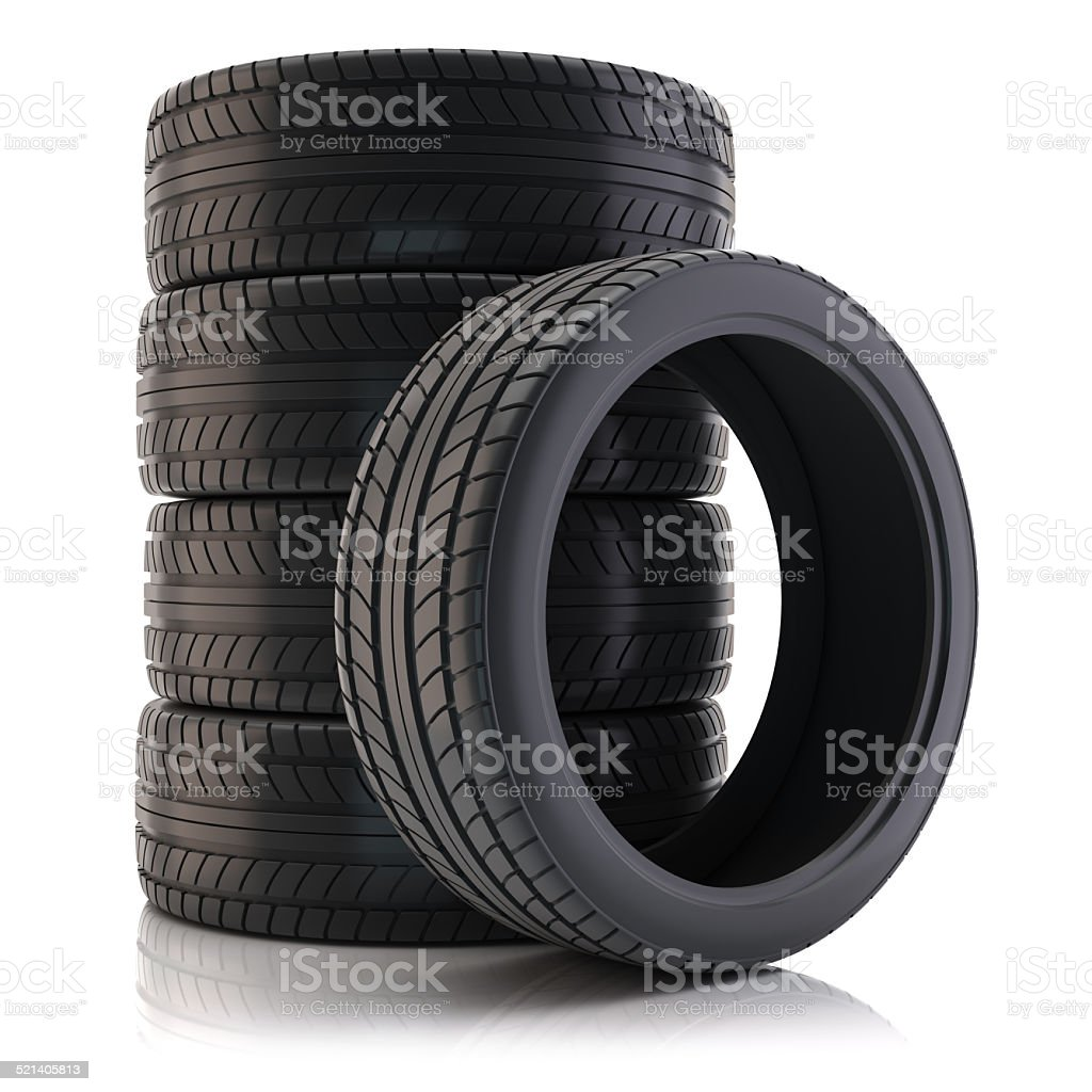 Group of automotive tires stock photo