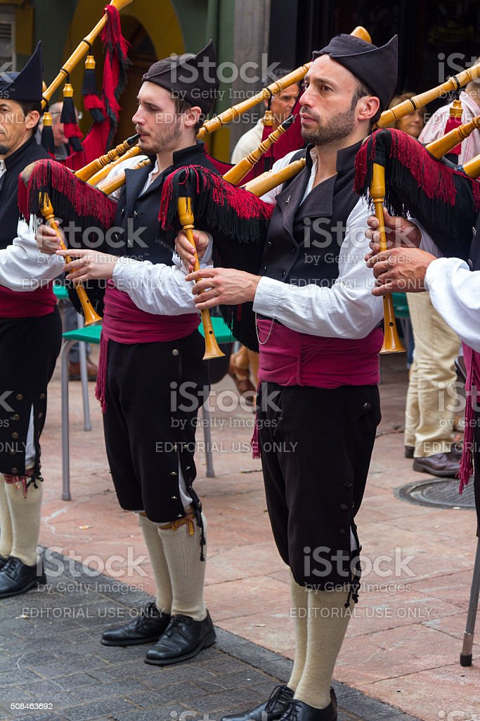 Group of bagpipers to parade thro stock photo