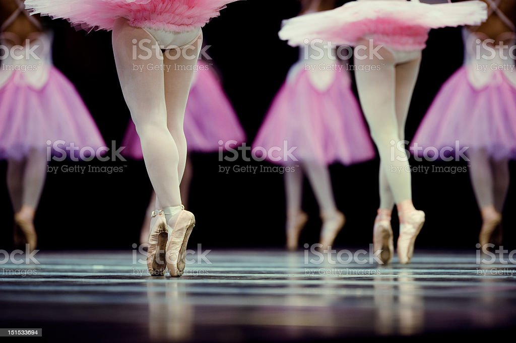 Group of ballerinas on their toes stock photo