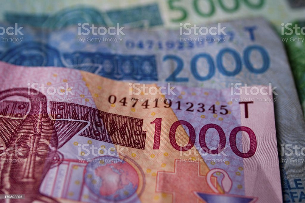Group of banknotes from West African States stock photo