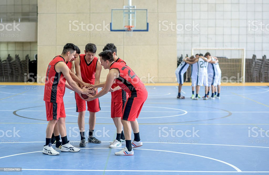 Group of basketball players stock photo