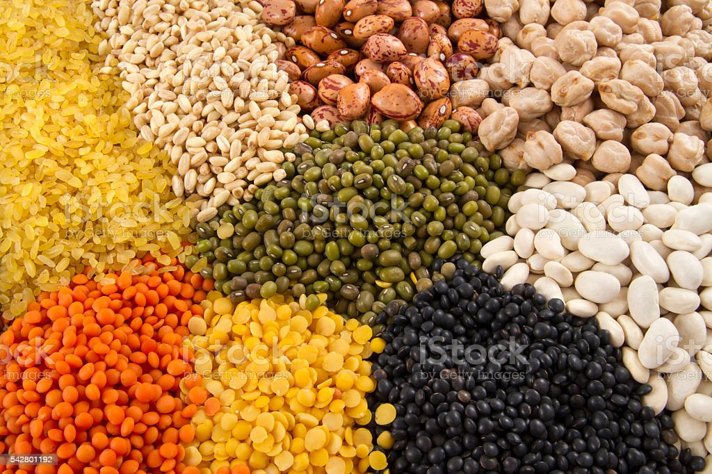 Group of Beans and Legumes stock photo