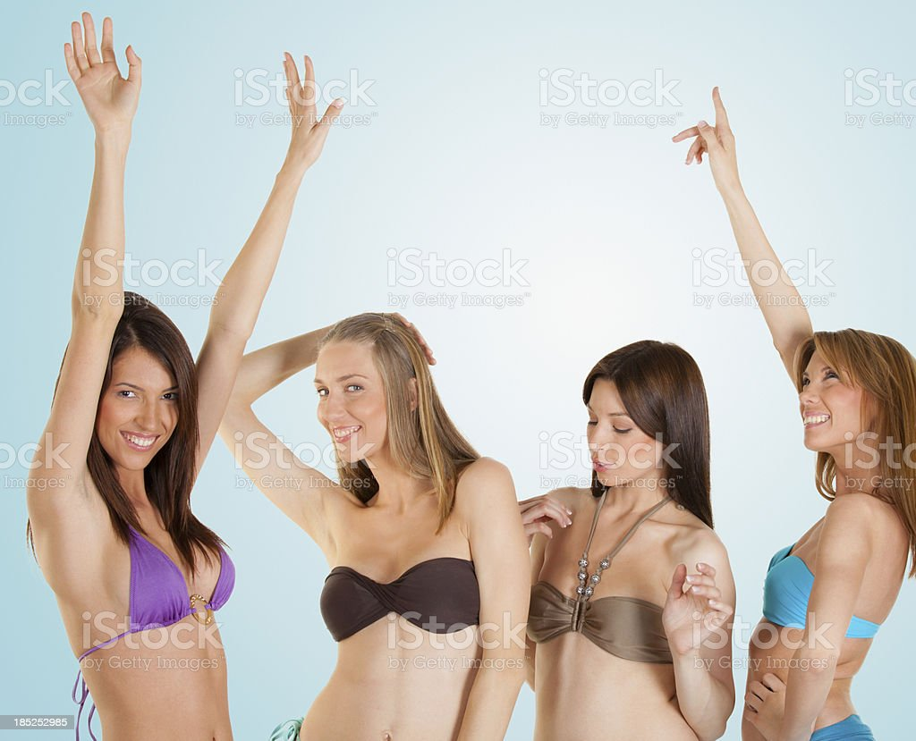 Group of beautiful young women having a party royalty-free stock photo