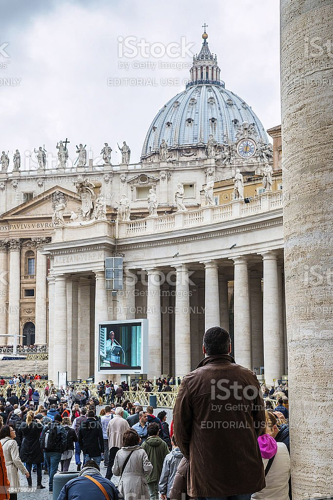 Group of believers in St. Peter's Square stock photo