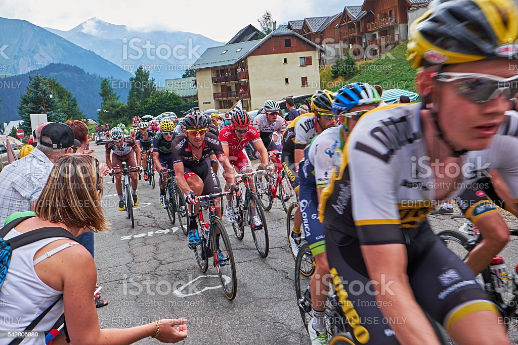 group of bicycle road race riders stock photo