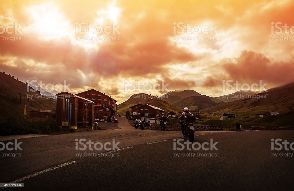 Group of bikers in mountain stock photo