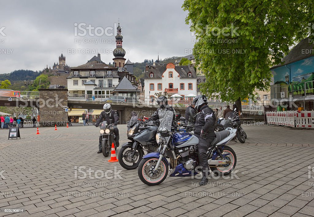 Group of bikers on motorcycles in Cochem, Germany stock photo