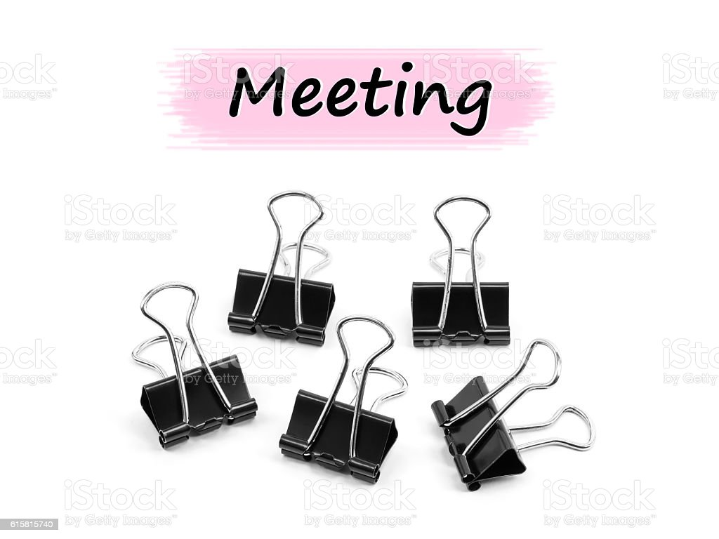 Group of Binder clip, Paper clip Meeting concept stock photo