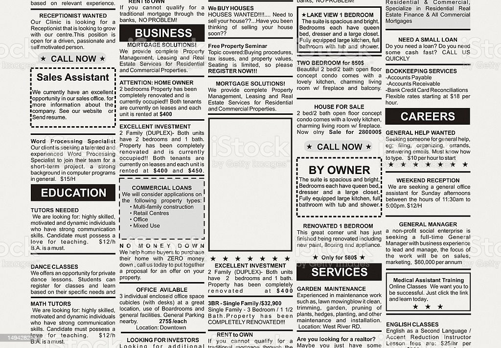 Group of black and white classified adverts in a newspaper stock photo