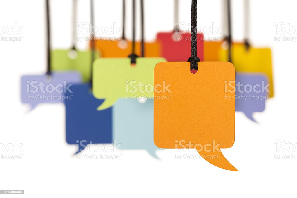 Group of blank colourful speech bubbles stock photo