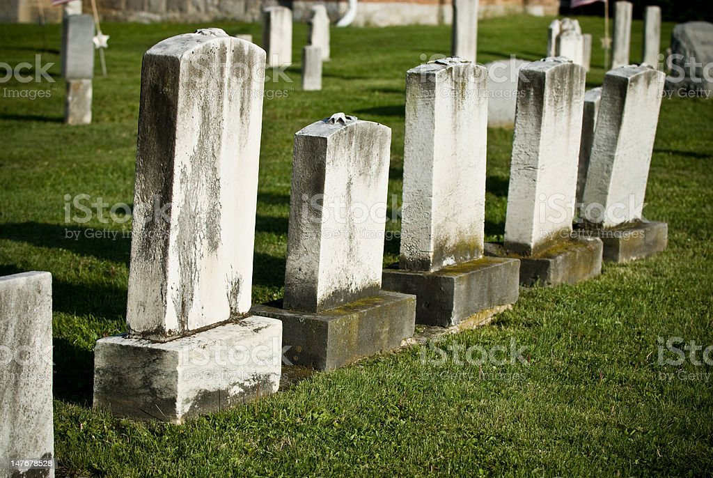 Group of Blank Tombstones stock photo