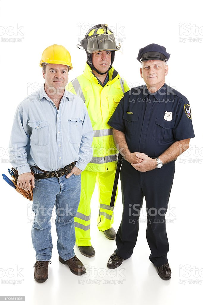 Group of Blue Collar Workers stock photo