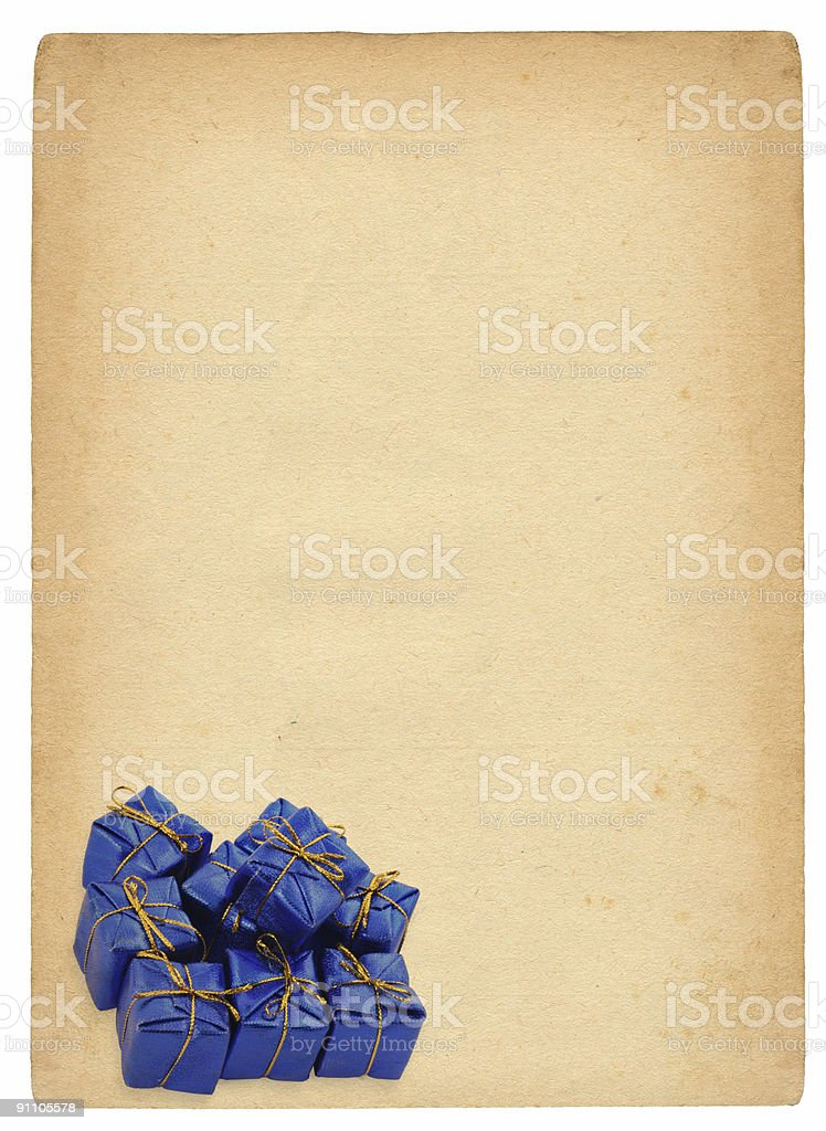 group of blue gifts against retro background royalty-free stock photo