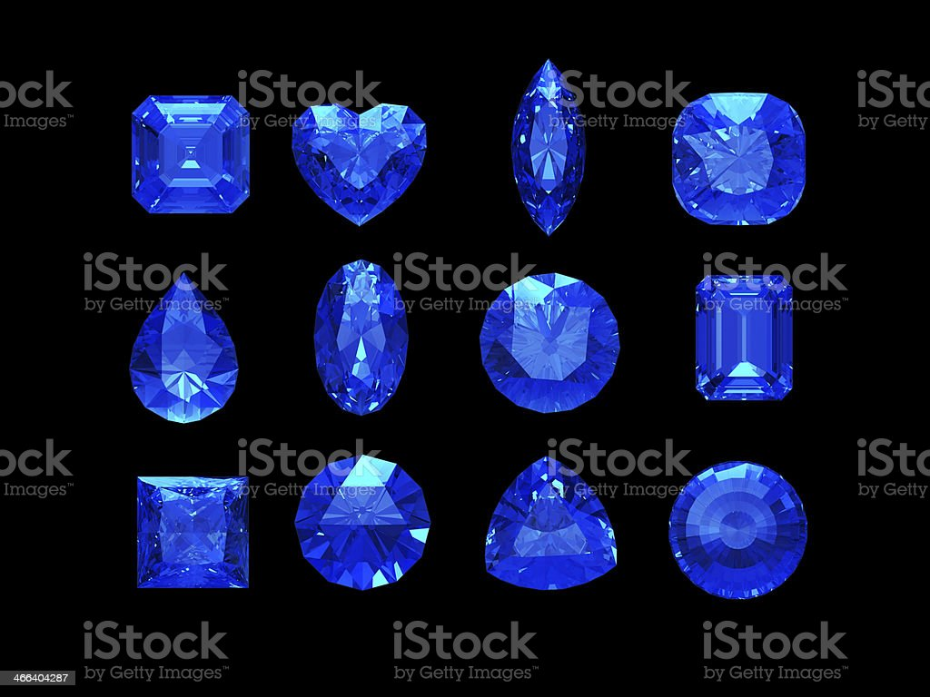 Group of  blue sapphire shape with clipping path stock photo