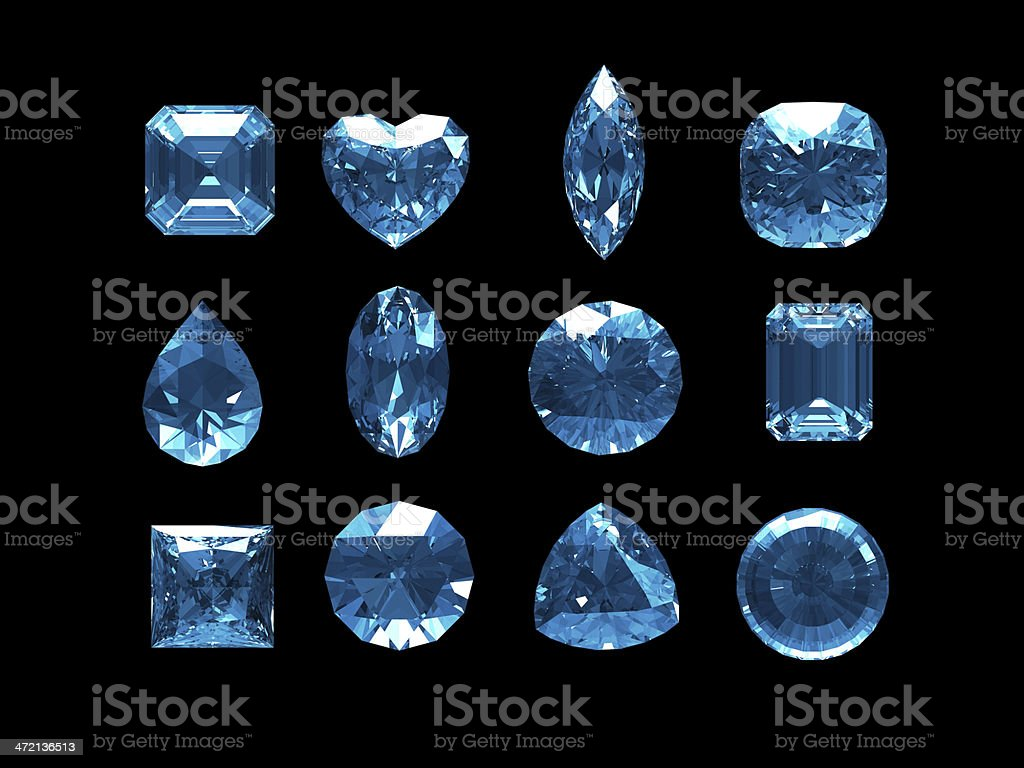 Group of blue topaz with clipping path royalty-free stock photo