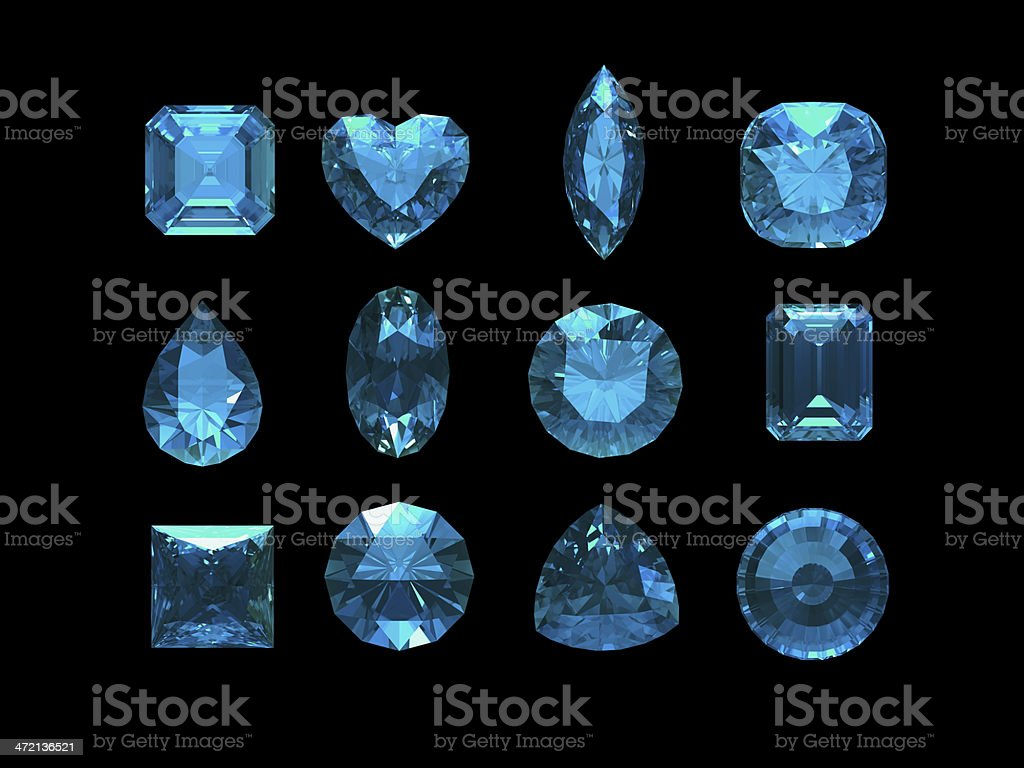 Group of blue tourmaline shape with clipping path royalty-free stock photo