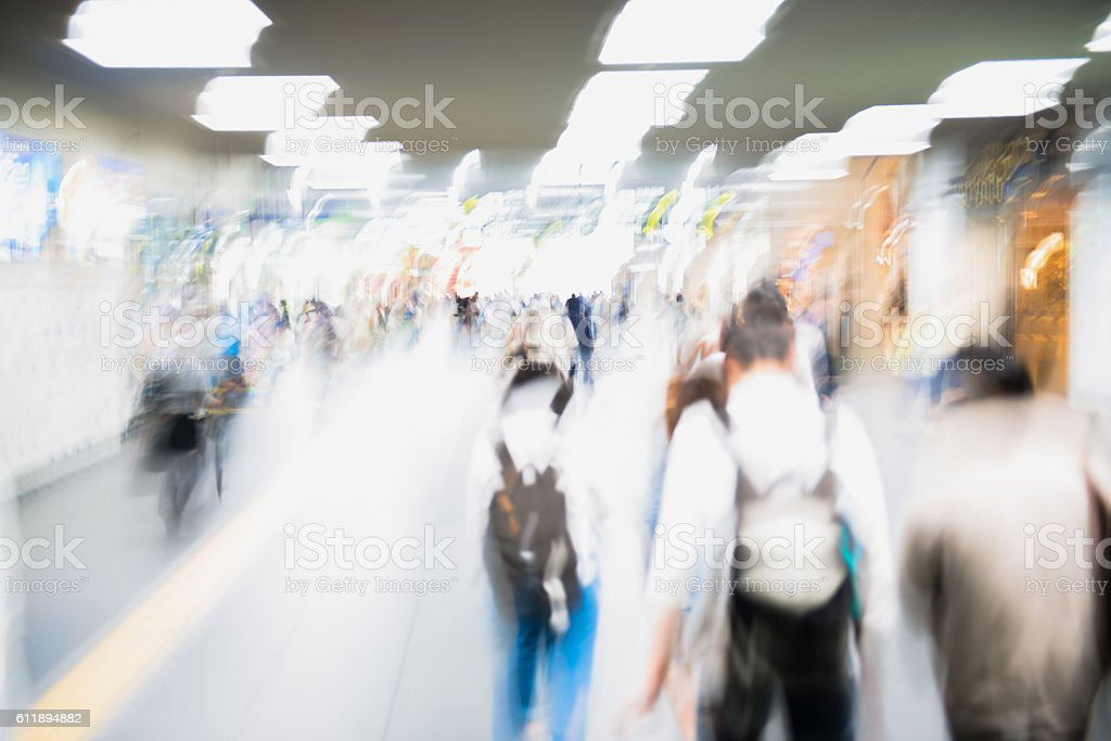 Group of Blurred People, Students Walking, Kyoto, Japan stock photo