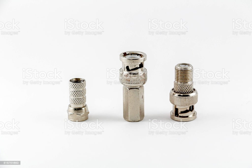Group of BNC connectors used for coaxial cable. Objects isolated stock photo