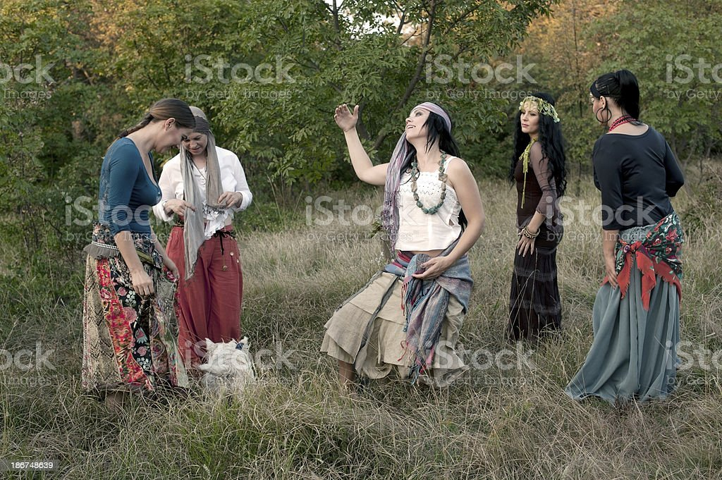 Group of Bohemian Gypsy Women royalty-free stock photo