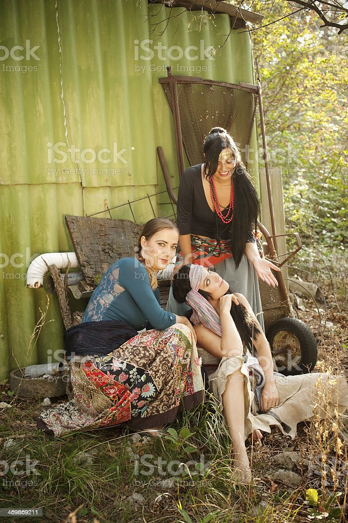 Group of Bohemian Gypsy Women royalty-free stock photo