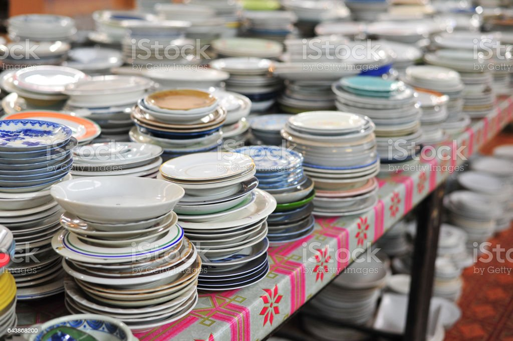 group of bowl put for sale in the market stock photo