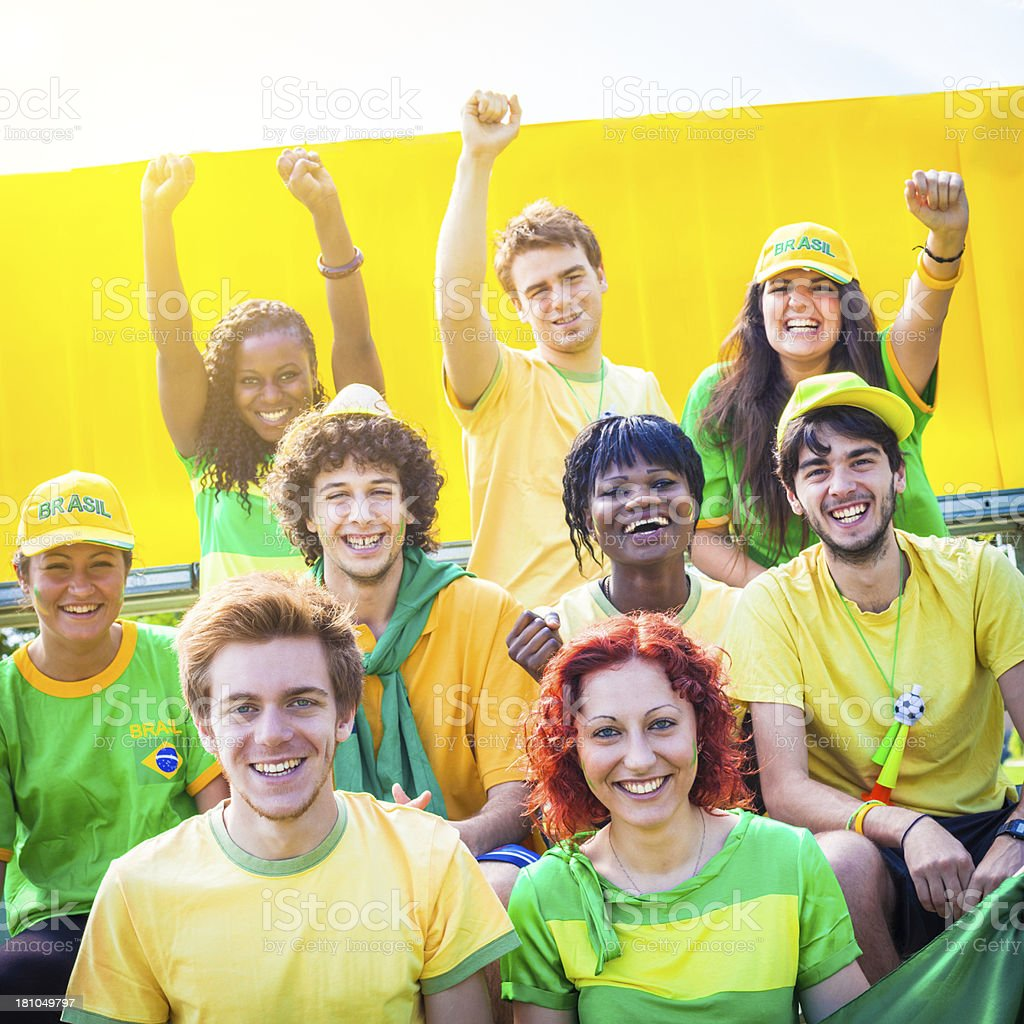 Group of Brazilian Footbal Team Supporters royalty-free stock photo