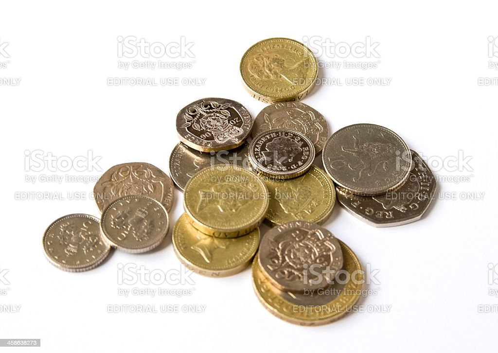 Group of British coins stock photo