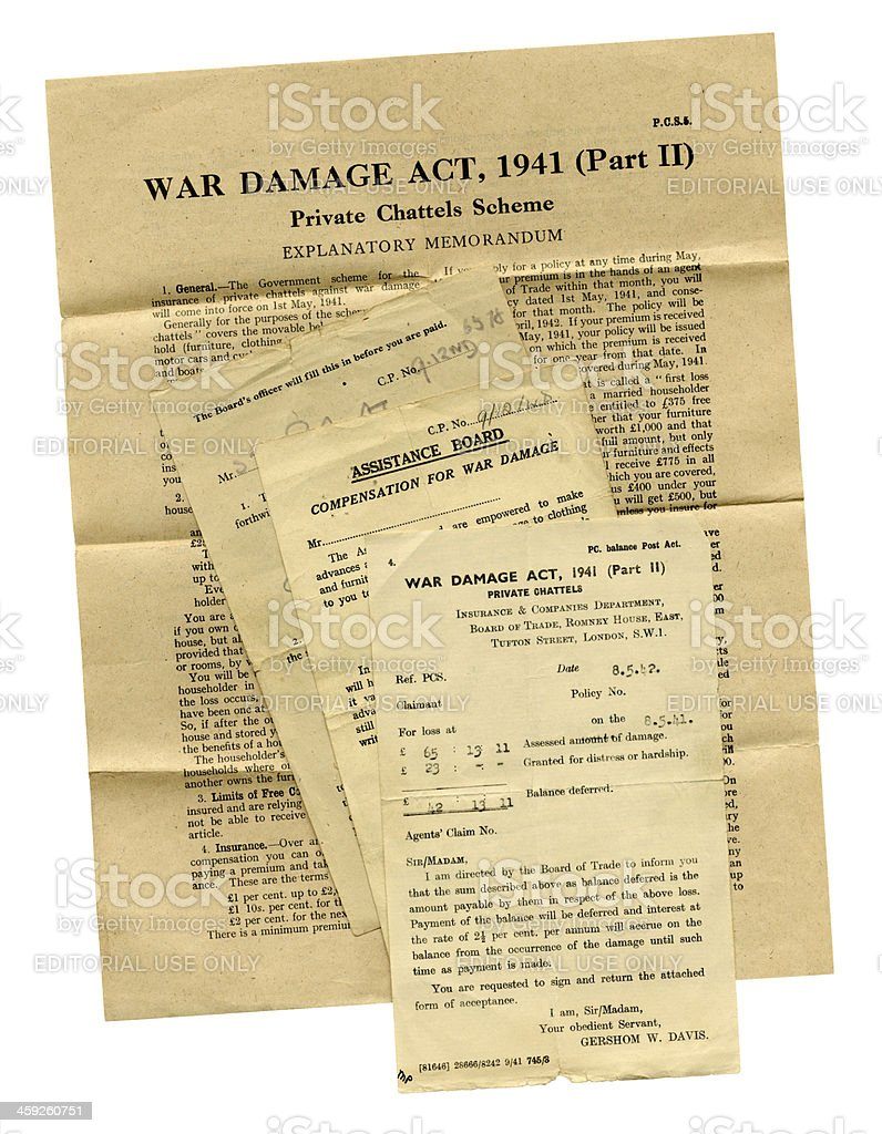 Group of British documents relating to War Damage c1941 royalty-free stock photo
