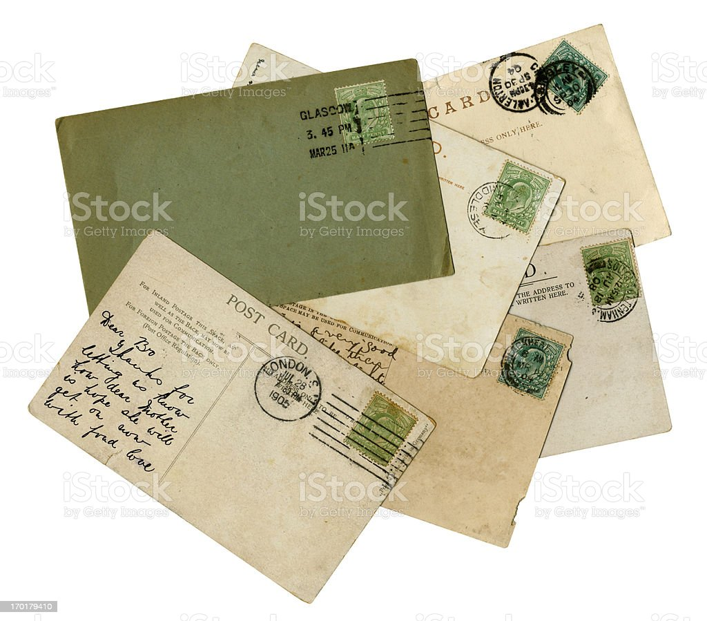 Group of British Edwardian postal history stock photo