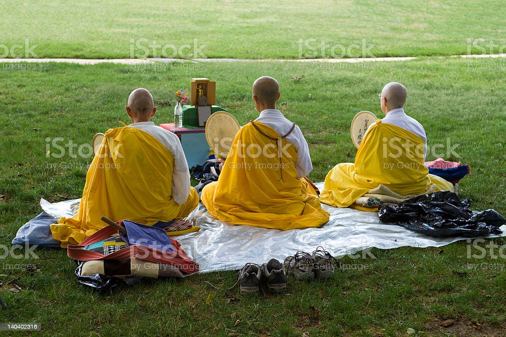 Group of Buddhist monks praying at anti-war protest  National Mall stock photo