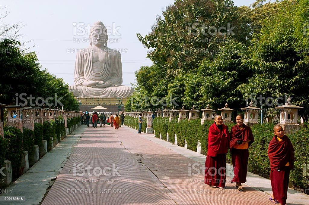 Group of Buddhist monks walking on alley stock photo