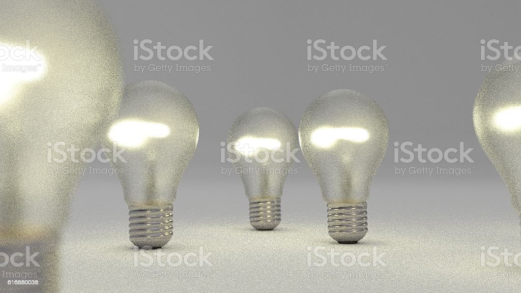 group of bulbs 3d render stock photo