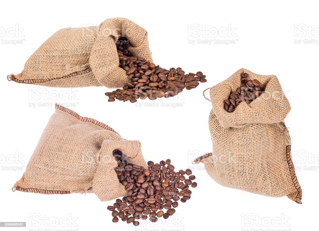 group of burlap sack with coffee beans on white stock photo