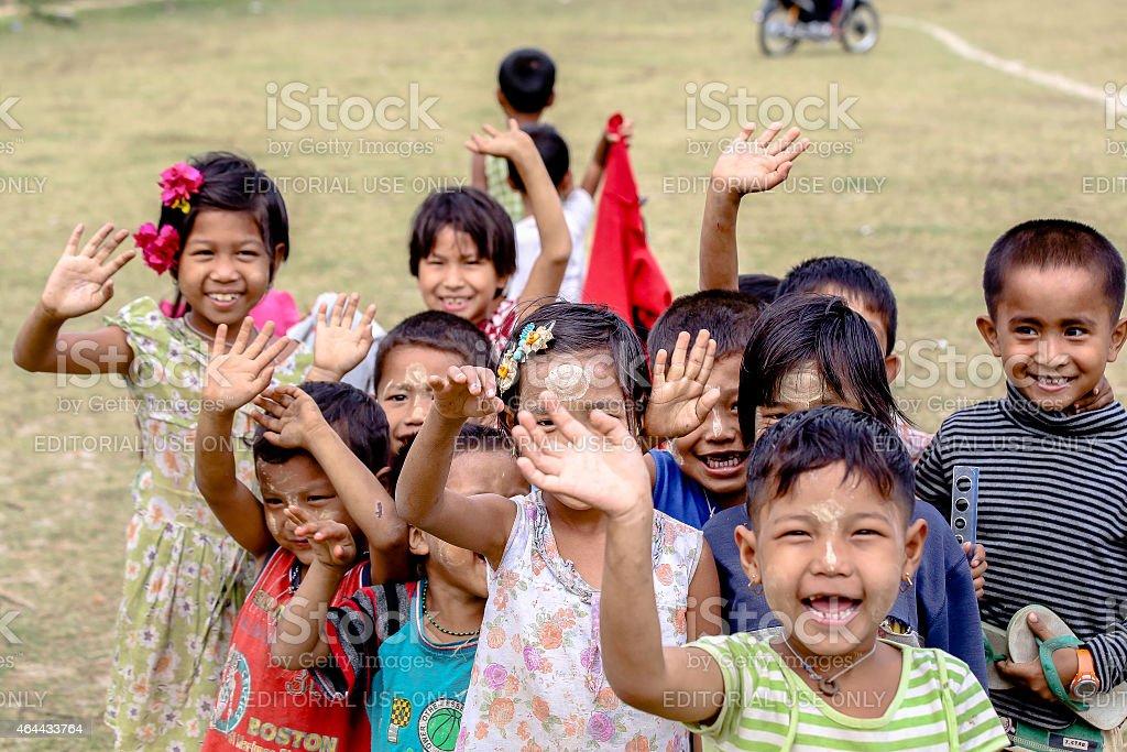 Group of Burmese children having fun stock photo