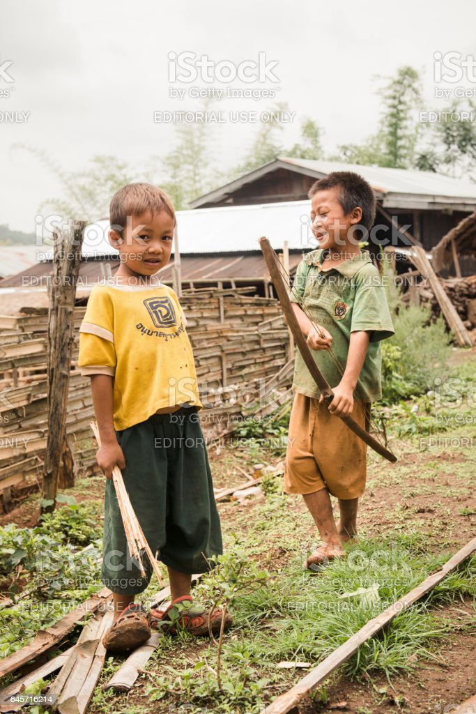 Group of Burmese children playing on the streets stock photo