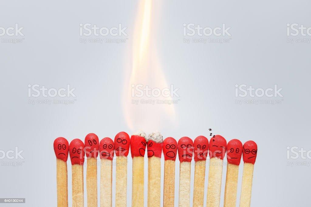 Group of burning emotional matches stock photo