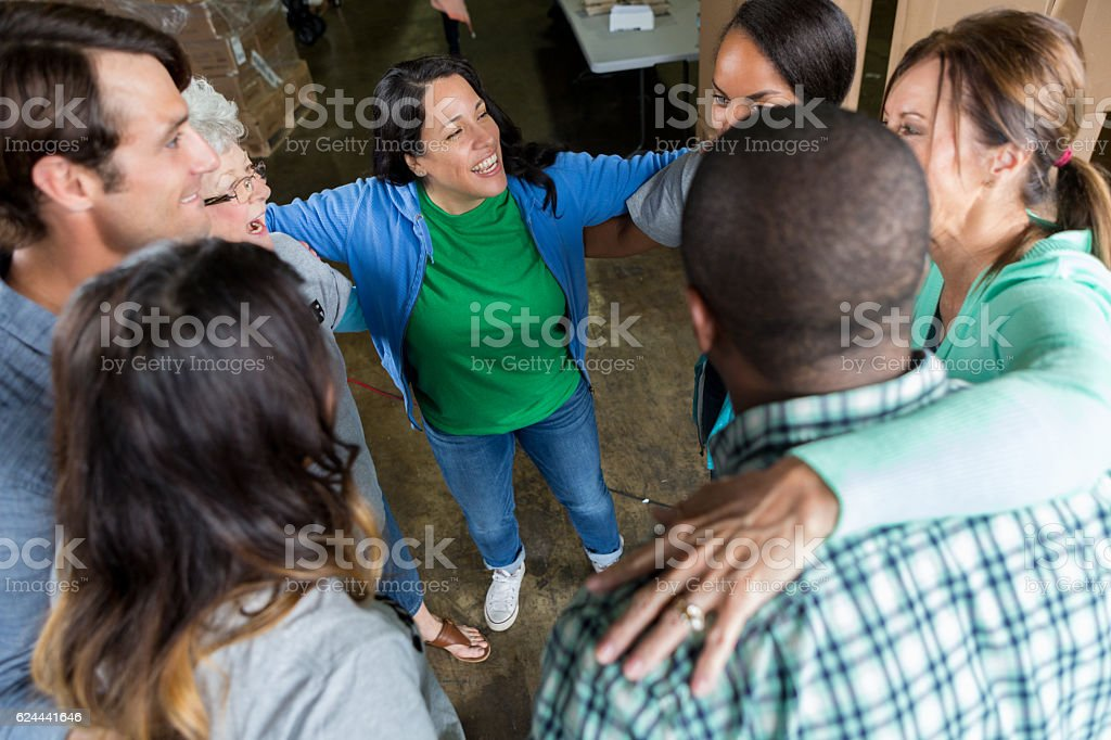 Group of business associates participate in team building outing stock photo