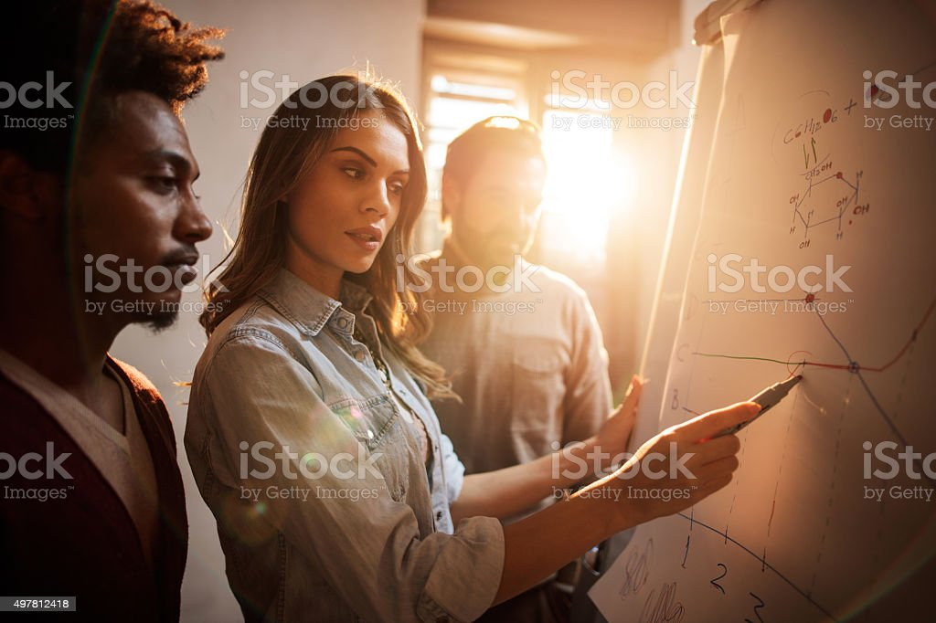 Group of business colleagues analyzing a chart together. stock photo