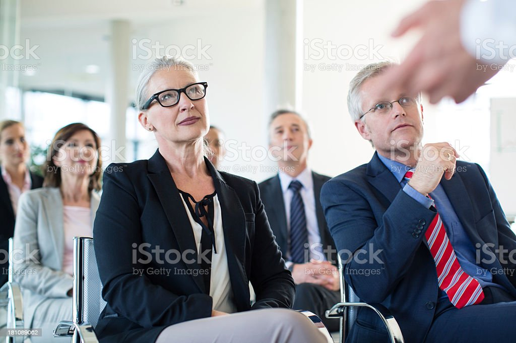 Group of business people at a presentation stock photo