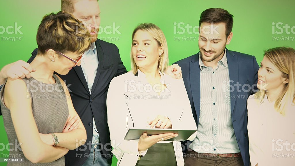 Group of business people at chroma key background stock photo